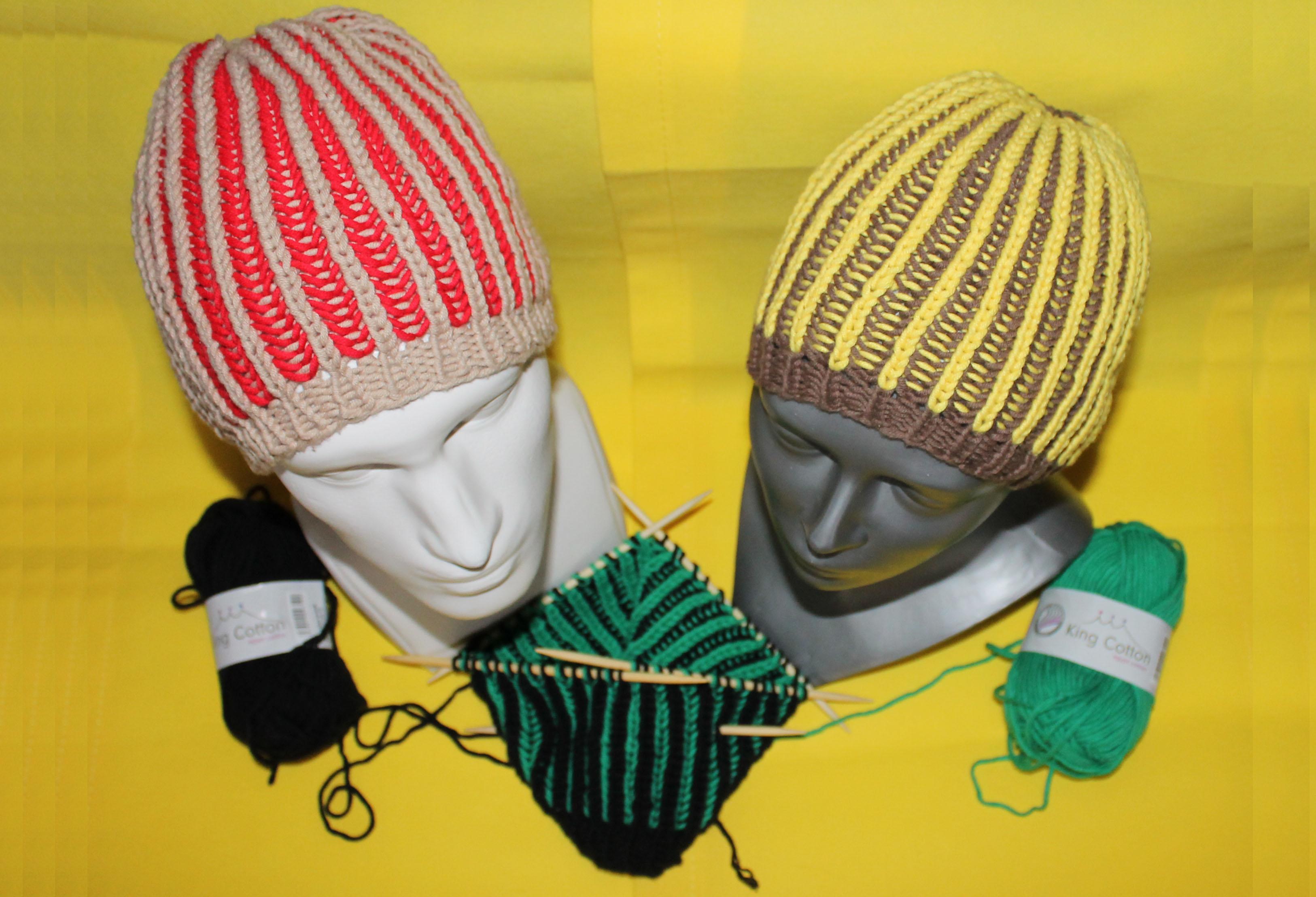 Zweifarbige Mütze Im Patent Stricking